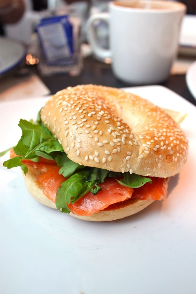 cottish Smoked Salmon Bagel with Cream Cheese, Dill and Rocket