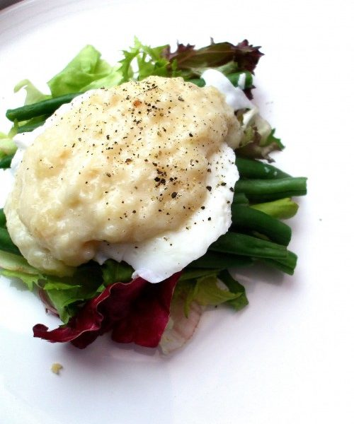 Poached Egg with Beans on Garden Salad