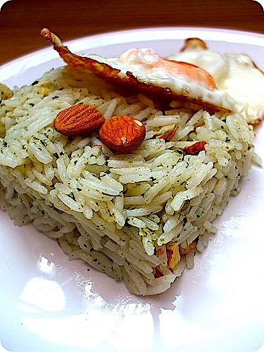 Green Tea Rice with Almonds